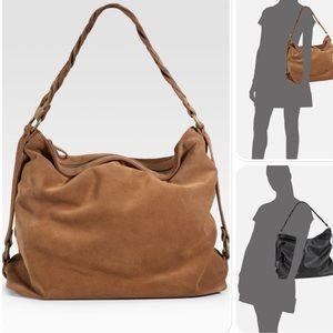 Eileen Fisher tan suede hobo bag purse boho slouch